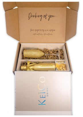 Bottega Gold 20cl Gift Set | with Matching Sparkling Gold Top Flute | and Belgian Chocolates | KeiCo Drinks