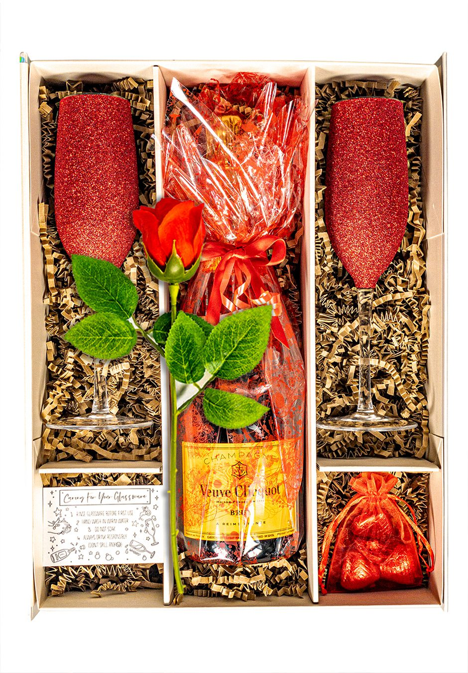 Veuve Clicquot Champagne 75cl   Sparkleware Gift Set   Chocolates & Rose   Keico Drinks