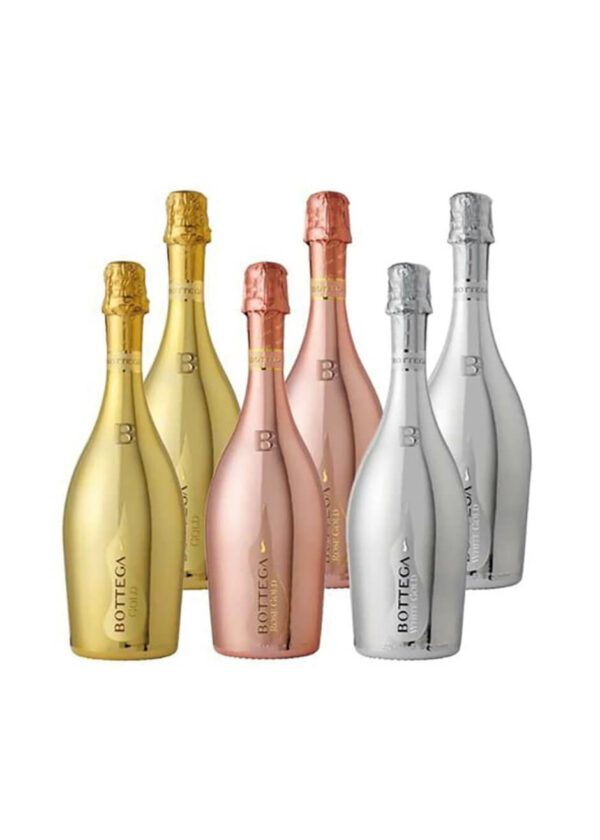 Bottega Sparkling Wine Collection of Gold, Rose and White Gold 6 x 75cl | Keico Drinks
