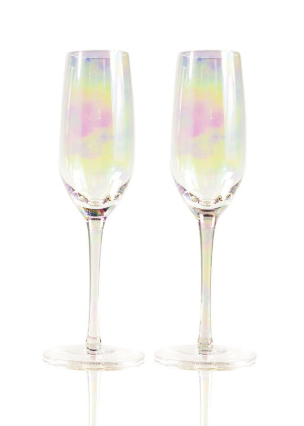 Sparkleware® Iridescent Champagne Glass Flutes | Keico Drinks