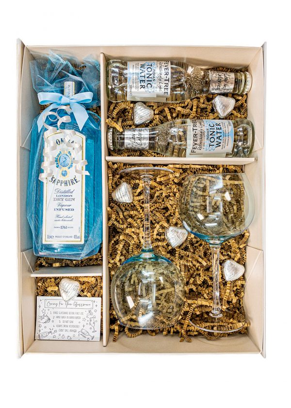 Bombay Gin 70cl | Blue Gift Set | With matching Gin Glasses, Tonics | and Belgian Chocolates | KeiCo Drinks