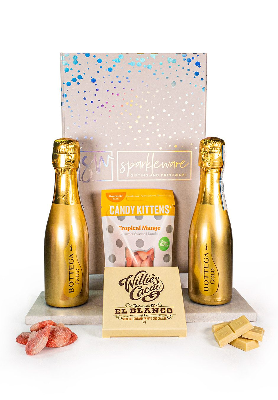 20cl Gold Bottega x 2   Candy Kittens   Willies Cacao   Sparkleware Gift Set   Keico Drinks