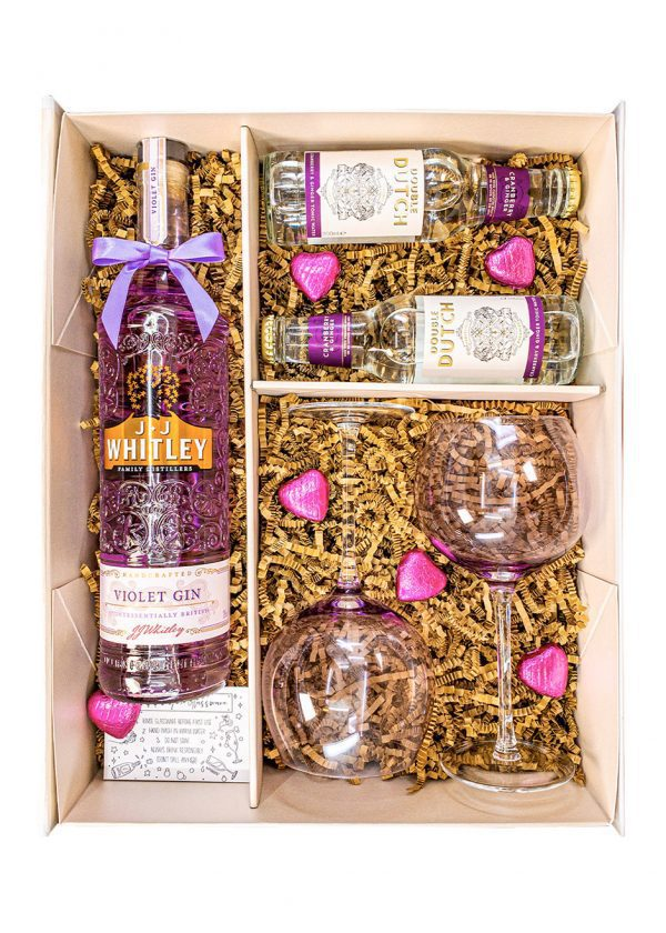 JJ Whitley | Violet Gin with tonics | 70cl | Sparkleware Gift Set | Keico Drinks