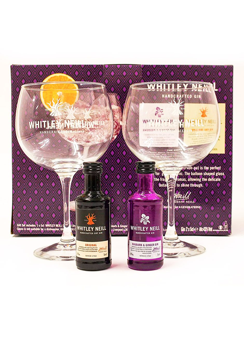 Whitley Neill   2 x 5cl with Copa Gin Glasses   Gift Set   KeiCo Drinks
