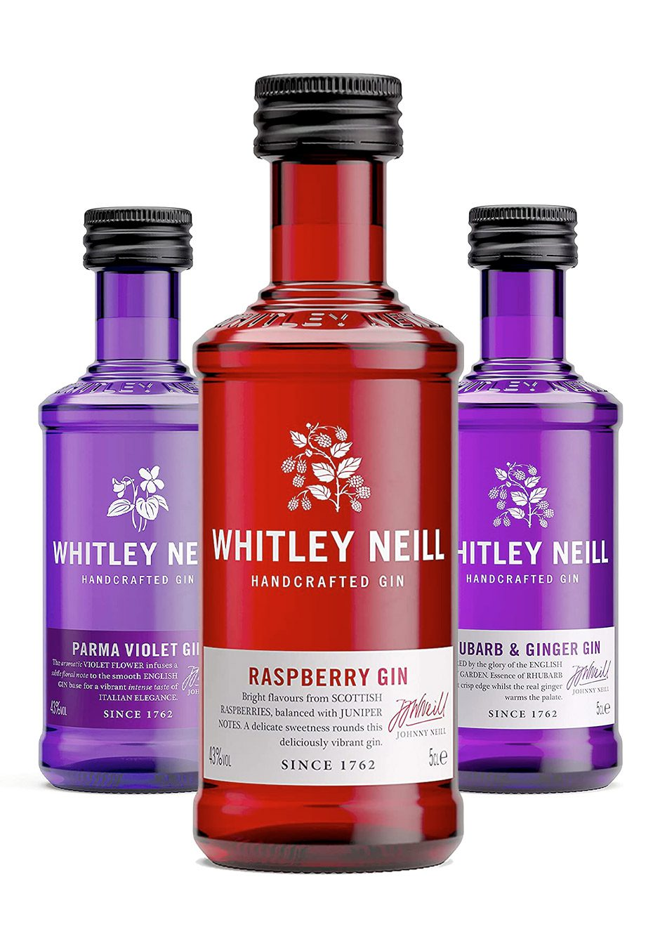 Whitley Neill Gin | 3 x 5cl Flavour Selection | Rhubarb & Ginger Raspberry & Parma Violet | KeiCo Drinks