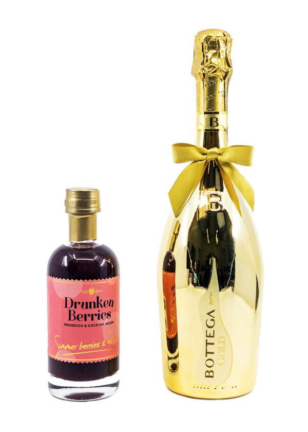 Gold Bottega Prosecco   70cl   Drunken Berries Prosecco and Cocktail Mixer   Summer Berries and Rum   20cl   Duo Bundle   Keico Drinks